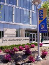 Photo of the exterior of Wishcamper Center on the USM campus