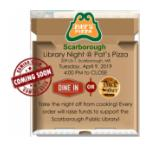 Library Night at Scarborough Pat's Pizza, Fun-raiser, benefit for Scarborough Public Library